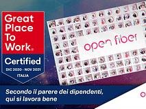 Open Fiber è 'Great place to work': centralità delle persone e innovazione continua alla base del riconoscimento